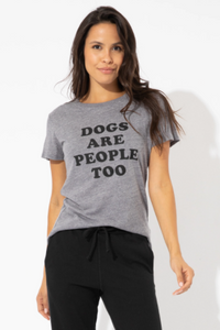 Dogs are people too loose tee - heather grey