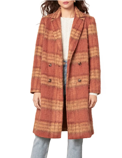 Vera double breasted plaid coat - rust