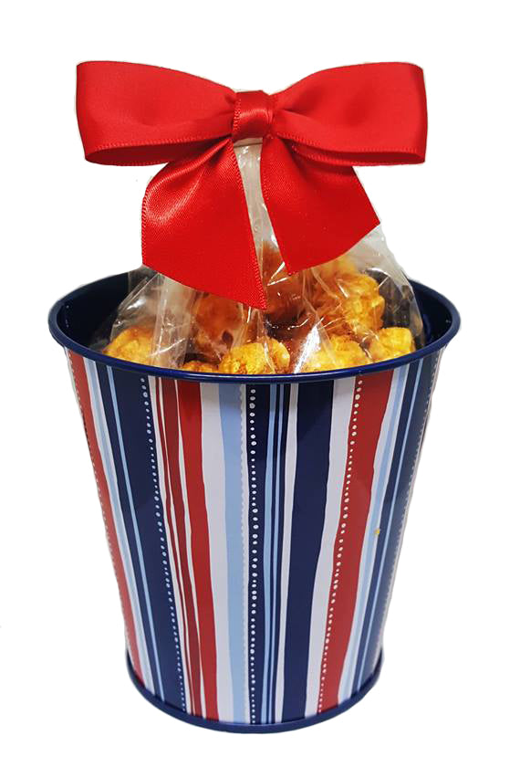 Patriotic Red, White & Blue Stripes - Caramel Popcorn Metal Pail