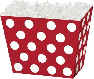 Red & White Dots Angled Popcorn Gift Basket