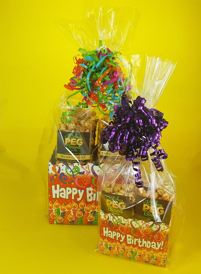 Birthday Candles Caramel Popcorn Gift Basket brimming with PEG's Gourmet Caramel Popcorn - The Kitchen PEG Board