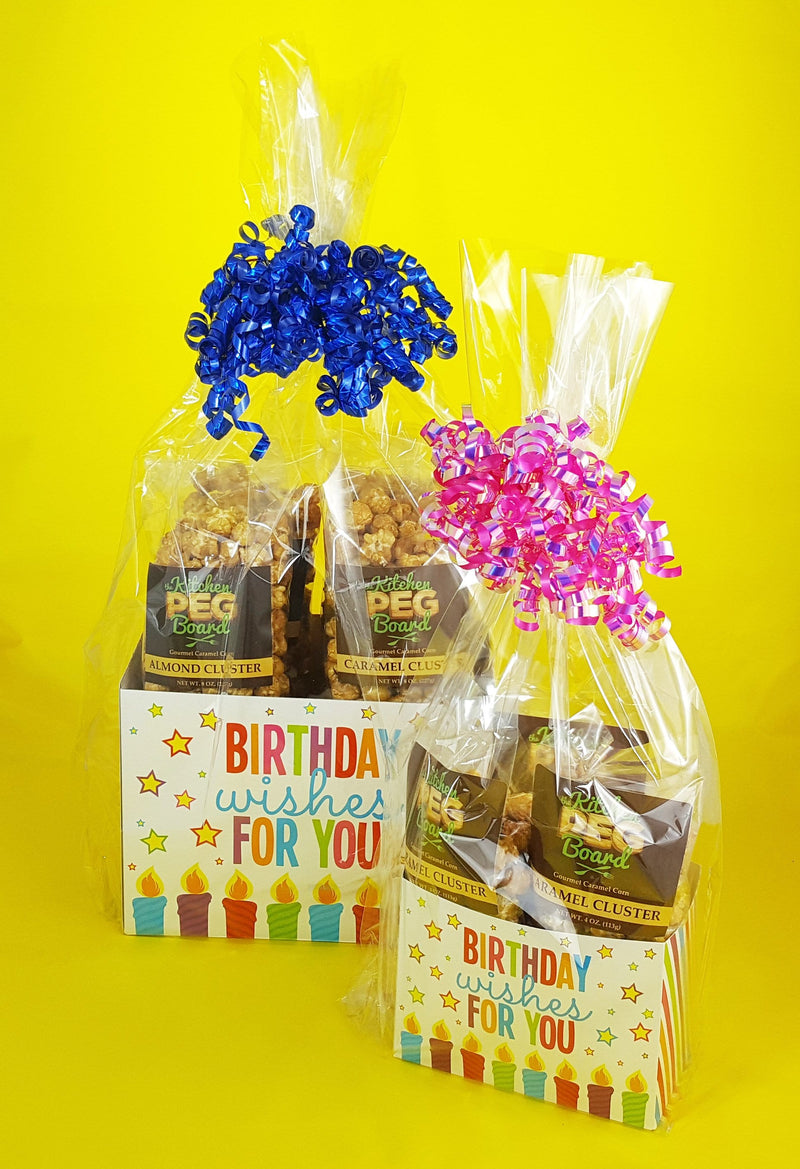 Birthday Wishes Caramel Popcorn Gift Basket brimming with PEG's Gourmet Caramel Popcorn - The Kitchen PEG Board
