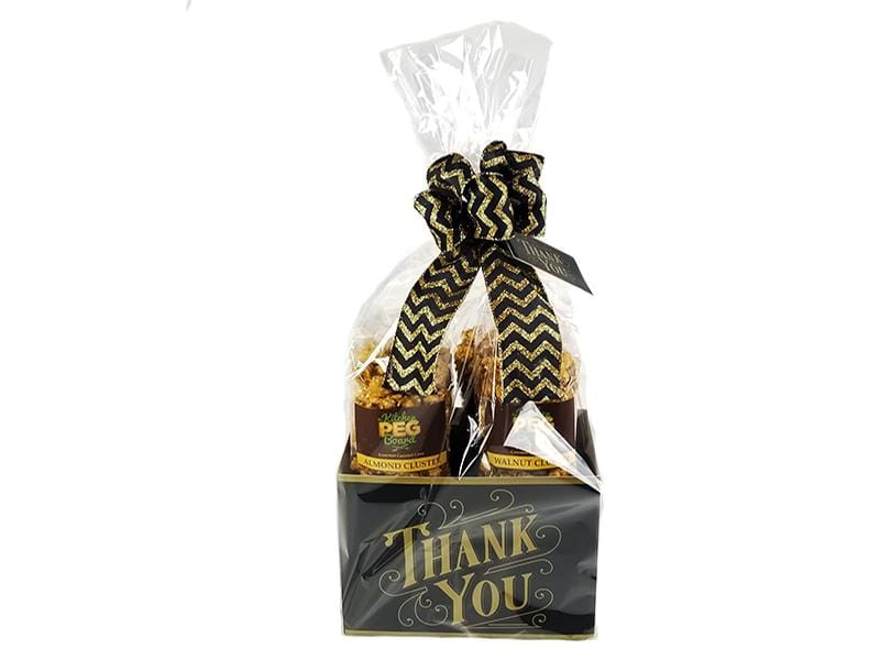 Black & Gold Thank You Popcorn Gift Basket