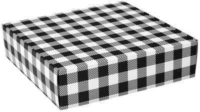 Black and White Plaid Popcorn Gift Box