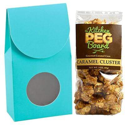 Robbins-Egg-Blue, Themed, Treat Box Filled with a 3-oz. Bag of Gourmet Caramel Popcorn From The Kitchen PEG Board.