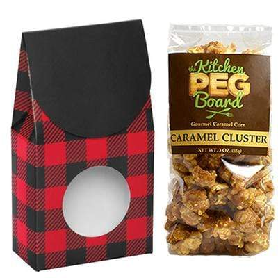 Buffalo-Plaid, Themed, Treat Box Filled with a 3-oz. Bag of Gourmet Caramel Popcorn From The Kitchen PEG Board.