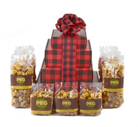 Buffalo Plaid Caramel Popcorn Gift Tower