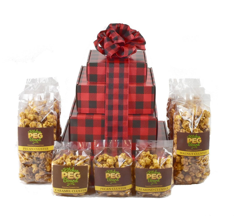 Buffalo Plaid Popcorn Gift Tower