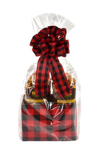 Buffalo Plaid Caramel Popcorn Gift Basket