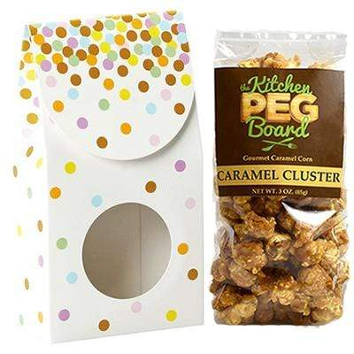 Confetti, Themed, Treat Box Filled with a 3-oz. Bag of Gourmet Caramel Popcorn From The Kitchen PEG Board.