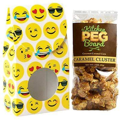 Emojis, Themed, Treat Box Filled with a 3-oz. Bag of Gourmet Caramel Popcorn from The Kitchen PEG Board.