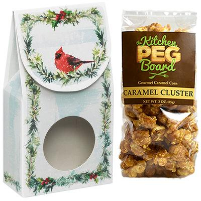 Farmhouse Christmas, Themed, Treat Box Filled with a 3-oz. Bag of Gourmet Caramel Popcorn From The Kitchen PEG Board.