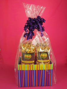 Festive Stripes Popcorn Gift Basket