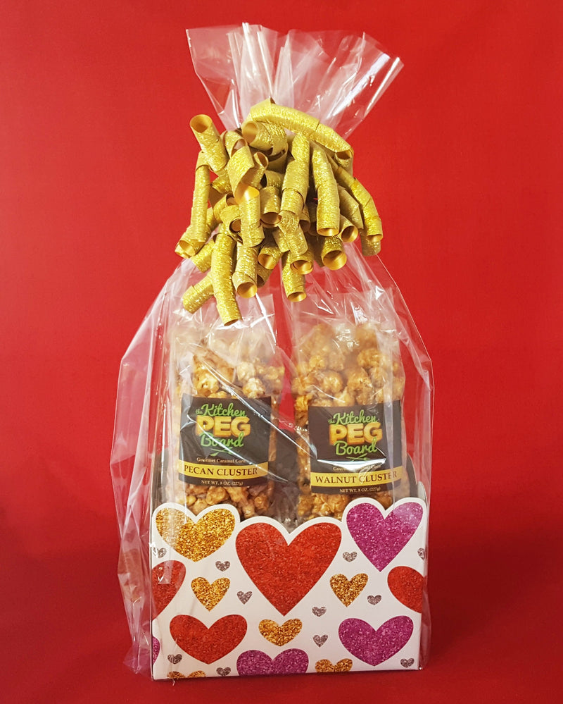 Glittering Hearts Popcorn Gift Basket - The Kitchen PEG Board