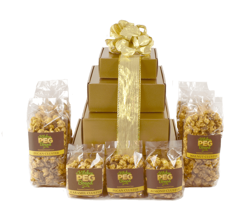 Gold Gloss Popcorn Gift Tower - The Kitchen PEG Board
