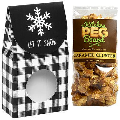 Let It Snow, Theme, Treat Box Filled with a 3-oz. Bag of Gourmet Caramel Popcorn From The Kitchen PEG Board.