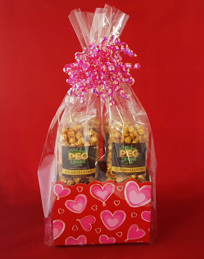 Ombre Hearts Popcorn Gift Basket - The Kitchen PEG Board