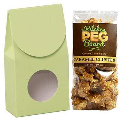 Pistachio, Themed, Treat Box Filled with a 3-oz. Bag of Gourmet Caramel Popcorn From The Kitchen PEG Board.
