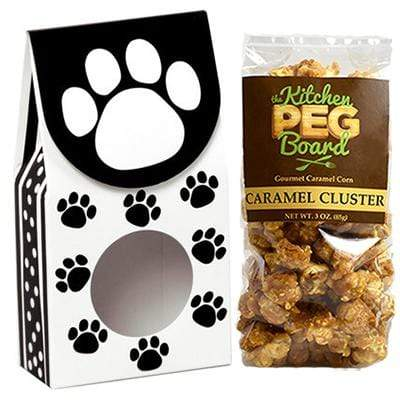 Polka-Dot-Paws, Themed, Treat Box Filled with a 3-oz. Bag of Gourmet Caramel Popcorn From The Kitchen PEG Board.
