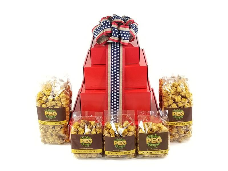 Red, White & Blue Stripes Popcorn Gift Tower