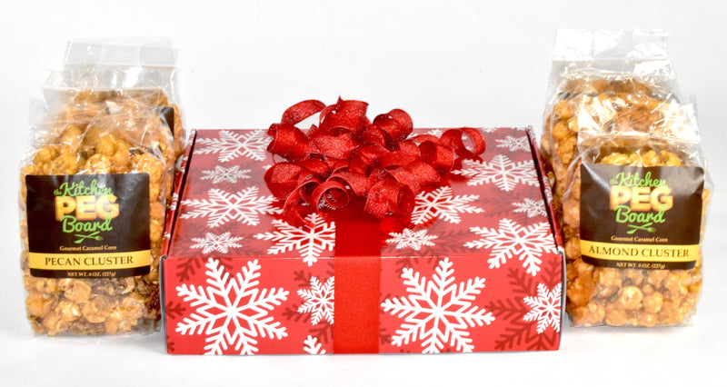 Red & White Snowflakes Popcorn Gift Box