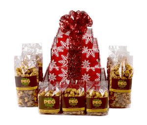 Red & White Snowflakes Caramel Popcorn Gift Tower