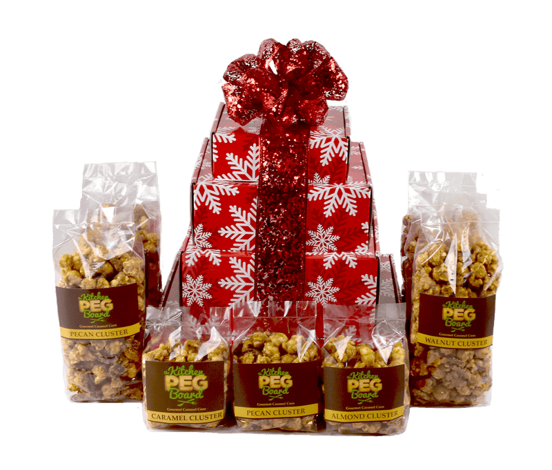 Red & White Snowflakes Popcorn Gift Tower