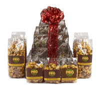 Rustic Winter Caramel Popcorn Gift Tower