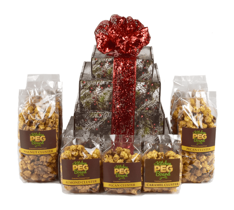 Rustic Winter Popcorn Gift Tower