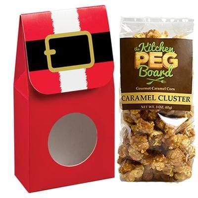 Santa's Belt, Themed, Treat Box Filled with a 3-oz. Bag of Gourmet Caramel Popcorn From The Kitchen PEG Board.