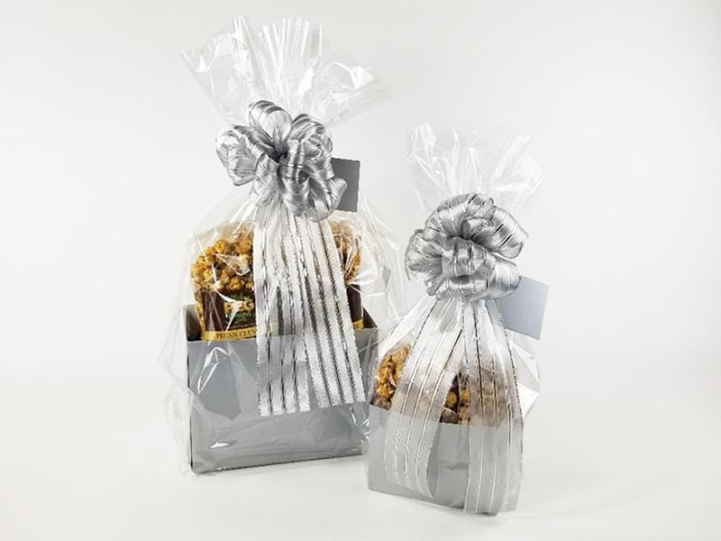 Silver Metallic Solid Color Popcorn Gift Basket