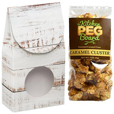 White Wood, Themed, Treat Box Filled with a 3-oz. Bag of Gourmet Caramel Popcorn From The Kitchen PEG Board.