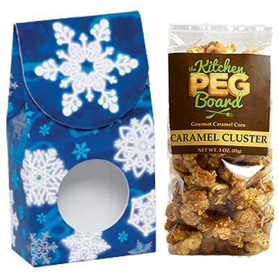 Winter-Wonderland, Themed, Treat Box Filled with a 3-oz. Bag of Gourmet Caramel Popcorn From The Kitchen PEG Board.