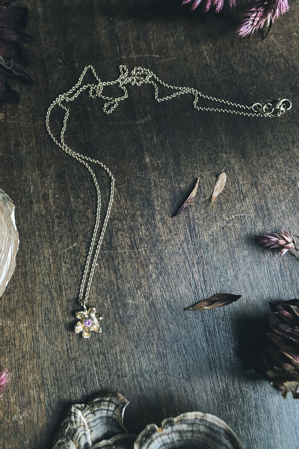 14k gold Milkweed Necklace with pink sapphire