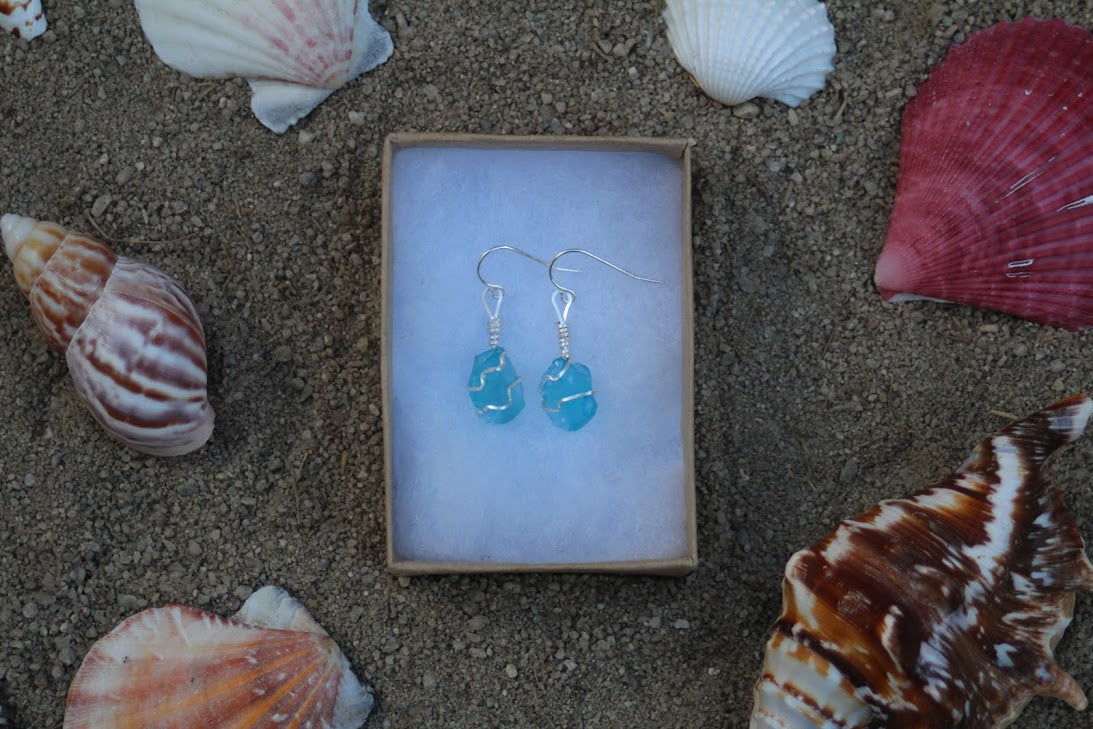 Amazing Aquamarine Sterling Silver Sea Glass Dangling Earrings