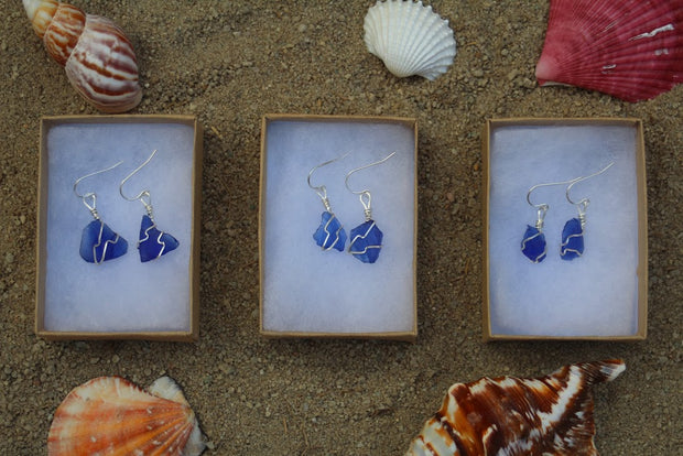 Midnight Blue Sterling Silver Sea Glass Dangling Earrings