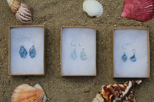 Ocean Blue Sterling Silver Sea Glass Dangling Earrings