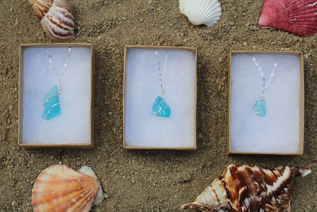 Amazing Aquamarine Sterling Silver Sea Glass Necklace