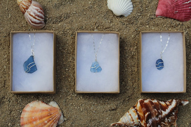 Ocean Blue Sterling Silver Sea Glass Necklace