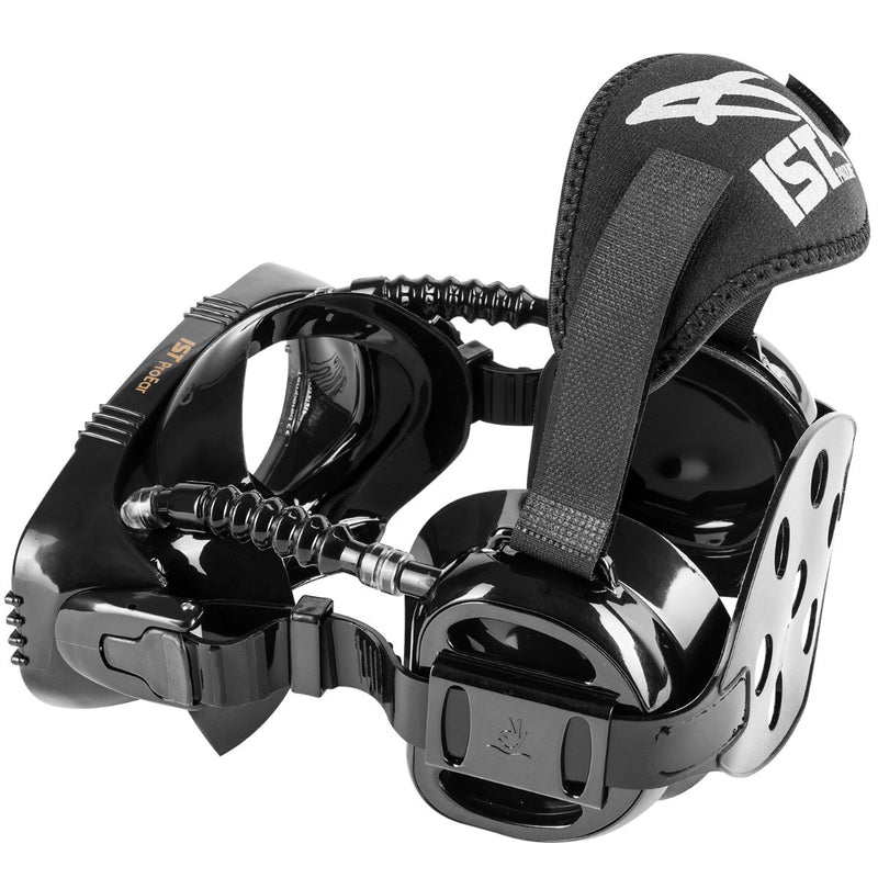 IST ProEar Pressure Equalization Mask with Watertight Ear Cups, Black Silicone