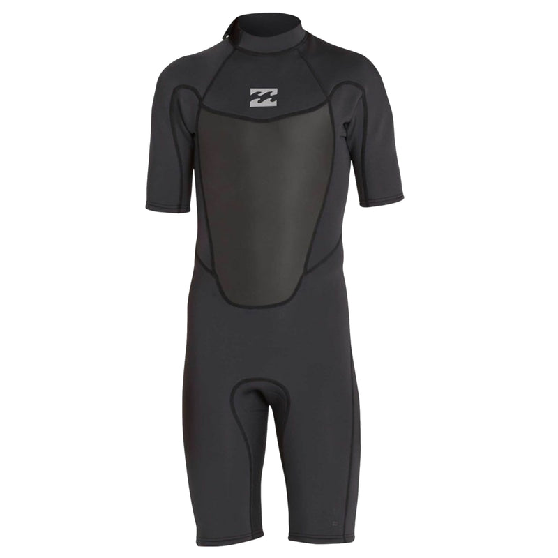 A black shorty wetsuit with short sleeves and a contoured collar in 2mm neoprene.