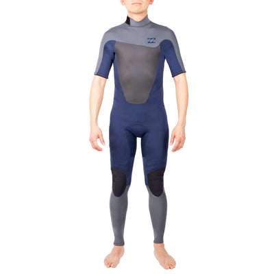 A black Billabong fullsuit wetsuit with 2mm neoprene and short sleeves.