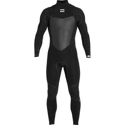 A black Billabong wetsuit with 2mm neoprene material, a chest zip entry and an Airlite foam core.