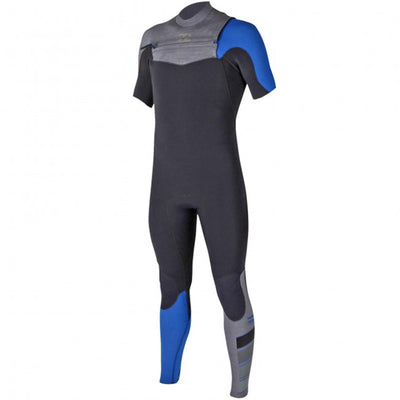 A Billabong short-sleeve wetsuit with a black body, bright blue details, and a chest zip entry