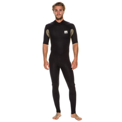 A black Billabong fullsuit wetsuit with short sleeves and 2mm neoprene for men.