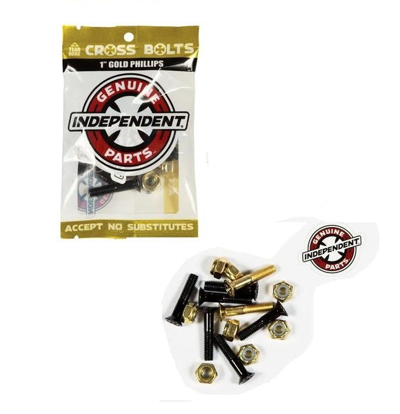 "Independent Skateboard Hardware 1"" Phillips Black/Gold 8 Nuts and Mounting Bolts"