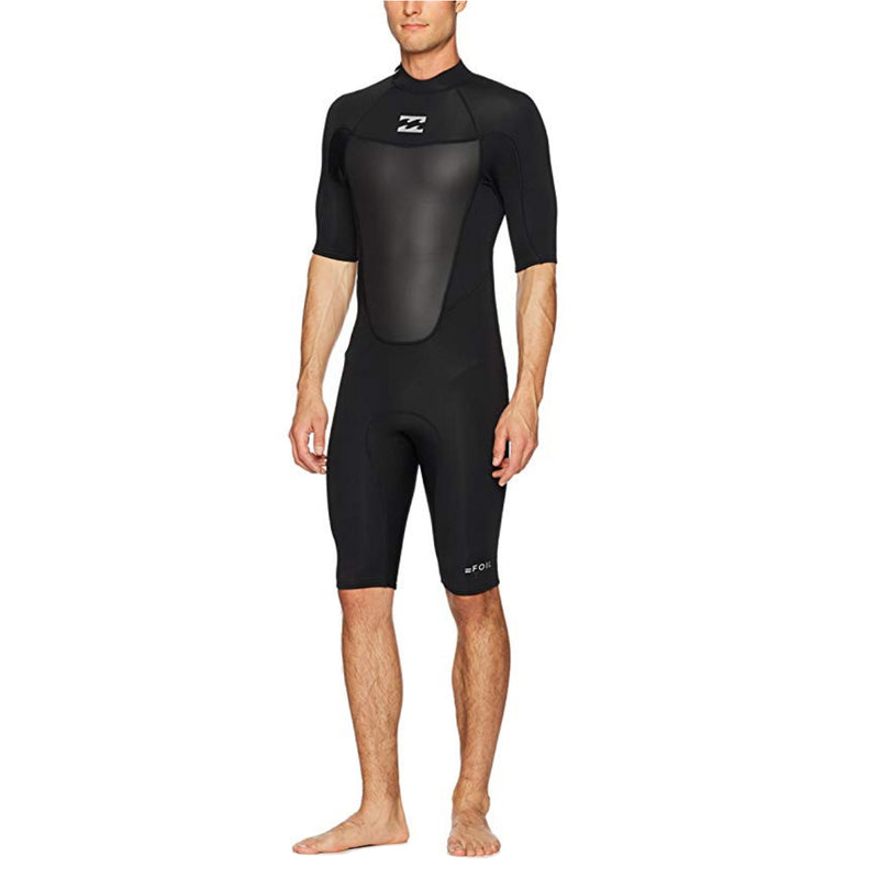 A black Billabong shorty wetsuit in 2mm neoprene