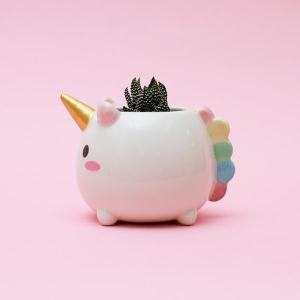 SMOKO Ceramic Hand Painted Elodie Unicorn Planter, Accessory Cup