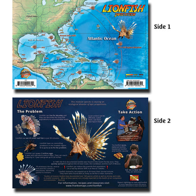 Franko Maps Lionfish Infestation Guide 5.5 X 8.5 Inch