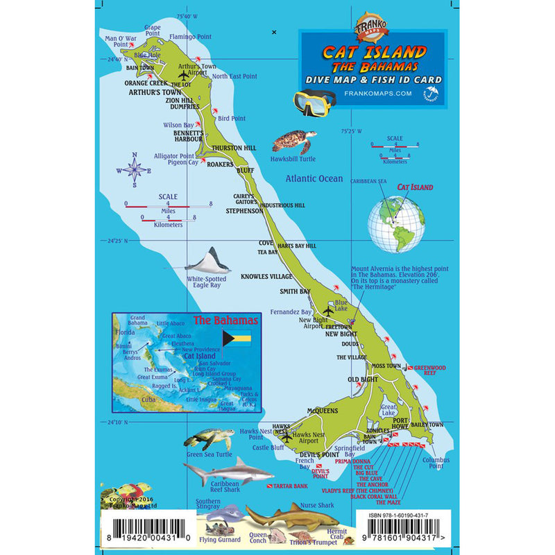 Franko Maps Cat Island Bahamas Dive Creature Guide 5.5 X 8.5 Inch